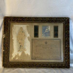Κορνίζα μεταλλίου σε λοχία  του 1914 υπογεγραμμένο από τον Ελευθέριο Βενιζέλο