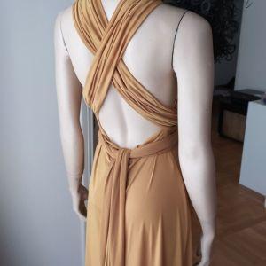 Πολυμορφικό βραδινό φόρεμα σε υπέροχο σατέν χρυσό χρώμα