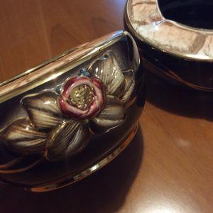 χειροποίητα vintage τασάκια διακοσμημένα με χρυσό 24Κ