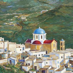 Γνήσιος πίνακας ζωγραφικής σε καμβά με θέμα τη Σέριφο