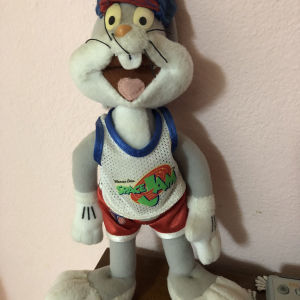 Bugs Bunny Space Jam Looney Tunes Λούτρινος. με μπαλάκι antistress & Δώρο μπρελόκ μικρό λούτρινο