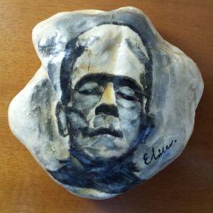 """Διακοσμητικη ζωγραφισμενη πετρα """"Frankenstein"""""""