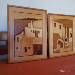 Πίνακες, με τεχνική μαρκετερί του 1980, απο Θεσσαλονίκη. Διαστάσεις 49χ36( πίσω το βουνό) και 45χ36 εκατοστά.