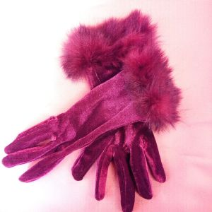 Vintage βελουτε γάντια με γουνακι.