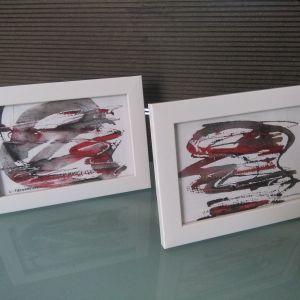 δυο εργα ζωγραφικης (πρωτοτυπα) σε καδρακια  18χ13
