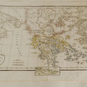 Επιχρωματισμένος χάρτης της Ελλάδας 1829