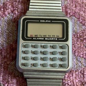 Delphi Calculator rare vintage men's quartz stainless steel band Σπανιο ρολόι χειρός υπολογιστής