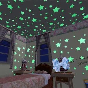 Σετ 100 αυτοκόλλητα φωσφορίζοντα αστέρια για τοίχους παιδικού δωματίου οροφής