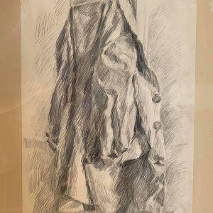 Σαββιδάκης κάρβουνο σε χαρτί ( Το Παλτό ). Διαστάσεις έργου 60 x 48 - 39 x 28 εκατοστά. 26 Αυγούστου 1980 , υπογεγραμμένο.
