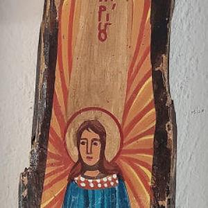 """Αγιογραφία σε παλαιό ξύλο, """"Άγγελος Κυρίου""""."""