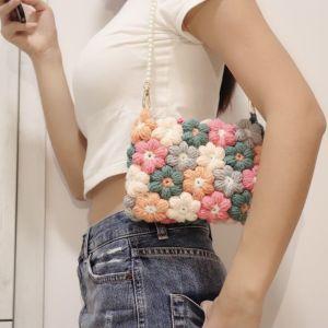 handmade crochet puff flower shoulder bag
