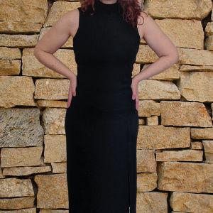 Μαύρο φόρεμα μάξι ζιβάγκο αμάνικο