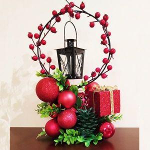 Χειροποίητο Επιτραπέζιο Χριστουγεννιάτικο Φαναράκι με reso κεράκι