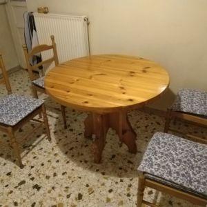 Πτυσσόμενο τραπέζι κουζίνας (σουηδικό ξύλο) και 4 καρέκλες