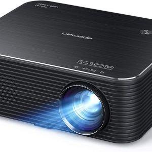 Προβολέας APEMAN, Εγγενής βίντεο Full HD 1080P, Υποστήριξη ταινίας 4K, Διόρθωση ηλεκτρονικής Keystone, Οθόνη LCD 300 , Συμβατή με HDMI / USB / Fire stick / Τηλέφωνο / PS4 / Chromecast