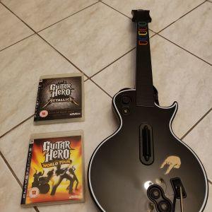Κιθάρα guitar hero μαζί με 2 παιχνίδια PlayStation 3