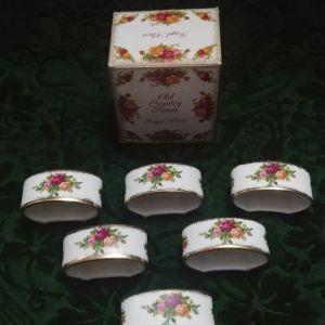 """Σετ 6 τμ κρίκοι/ δαχτυλίδια πετσέτας Royal Albert """"old country roses"""" bone china England 1973-1993"""