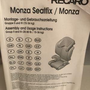 Recaro Monza Seatfix με σύστημα ασφαλείας Isofix για 15-36 κιλα