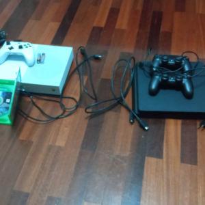 xbox one ps4 slim 2 dualshock +xbox game