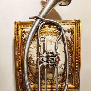 Συλλεκτικό άλτο κόρνο δεκ. 1920 με κύλινδρους, ιταλικό Ditta Prof. Romeo Orsi - Milano Italia, μουσικό χάλκινο πνευστό όργανο, διακόσμηση ρετρό αντίκα σπάνιο δυσεύρετο φιλαρμονική τρομπέτα τρομπόνι