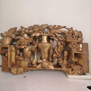 Ξυλόγλυπτo τρισδιάστατo χειροποίητo με φύλλο χρυσού Απω Ανατολής