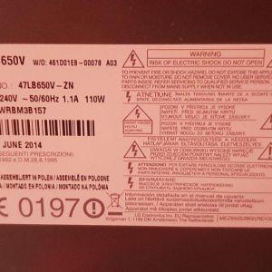 Πωλείται για ανταλλακτικά τηλεόραση lg47LB650V