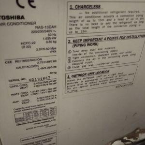 Πωλείται μεταχειρισμενο κλιματιστικό Toshiba τεχνολογίας Inverter  RAS - 13EAH, 18.000BTU
