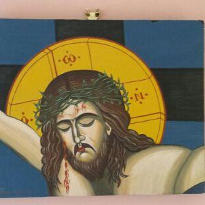 Βυζαντινή χειροποίητη εικόνα εσταυρωμένος