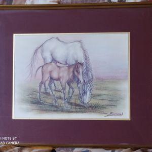 Άγγελος Γόντικας 51Χ42 εκ. Άλογα σε βοσκή