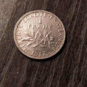 Ασημένιο 1 franc 1917 Γαλλία..