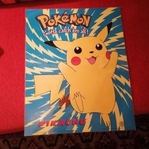 Μεγάλη σκληρή αφίσα pokemon με τον picachou του 1999 της Nintendo