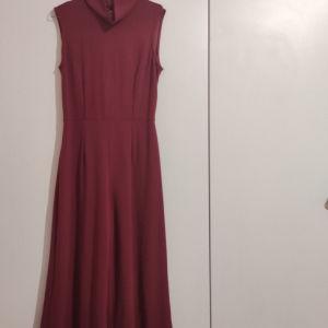 ολόσωμη φόρμα ζιπ κιλοτ αφόρετη σε μπορντό χρώμα