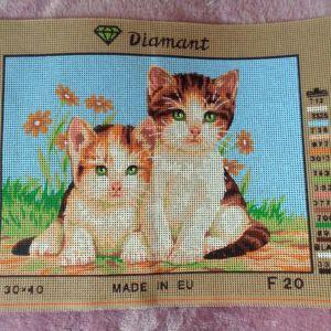 Δύο μικρά γατάκια μικρός τυπωμένος πίνακας σε καμβά για κέντημα