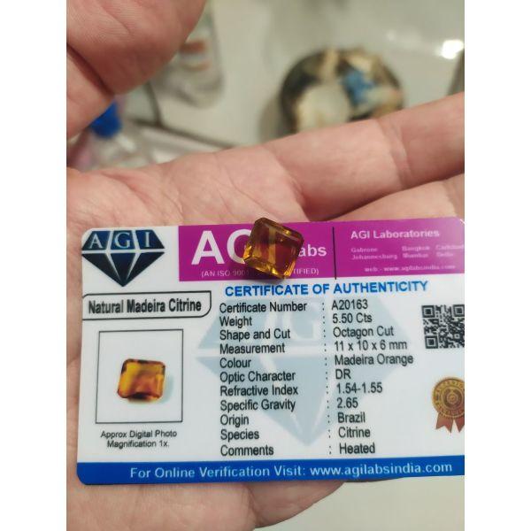 polite apo sillekti politimon orikton lithon , panemorfo Natural Madeira Orange Citrine 5.50 Ct Octagon Cut