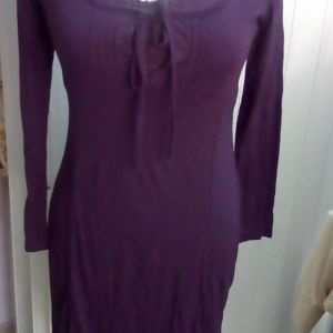 Φόρεμα διπλό με δανδέλλα σε μελιτζανη