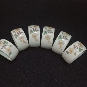 """Σετ 6 τμ δαχτυλίδια για πετσέτες ( napkins ring) Marks & Spenser  St Michael """"Autumn Leaves"""" Thailand 80'"""