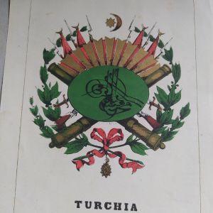 έμβλημα του Σουλτάνου Τουρκία 1863 Χρωμολιθογραφία