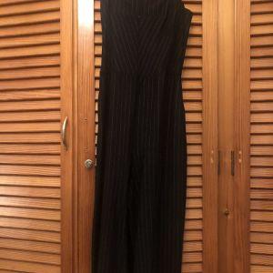 Ολόσωμη φόρμα μαύρη (pinstripe) κροπ ζιπ κιλοτ γραμμή - ISO