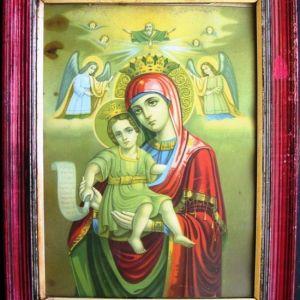 Παλαιά λιθόγραφη εικόνα της Παναγίας