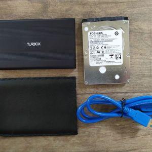 Εσωτερικός σκληρός 2.5΄΄ HDD 500GB + θήκη αλουμινίου 2.5΄΄ USB 3.0 + θήκη δερματίνη + καλώδιο USB