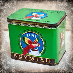 """Παλαιό μεταλλικό συλλεκτικό κουτί από καφέ """"Λουμίδης Παπαγάλος"""""""