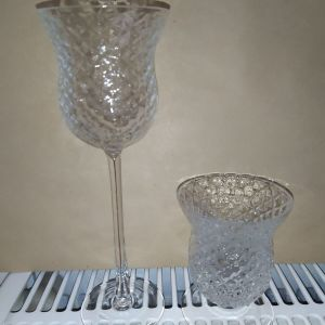 σετ 2 γυαλινα διακοσμητικα για κερι κερια