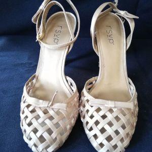 Παπούτσια γυναικεία ύφασμα και δέρμα rsvp ν.38 τακούνι 9εκ.