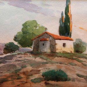 Απόστολος Γεραλής (1886-1983), τοπίο με ξωκλήσι