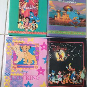 4x Vintage Σχολικά Ντοσιέ Disney Aladdin, Lion King, Mickey Mouse