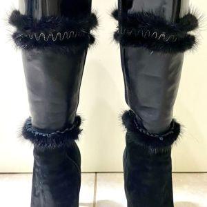 Versace μαύρες δερμάτινες μπότες, νούμερο 40. Σαν καινούργιες