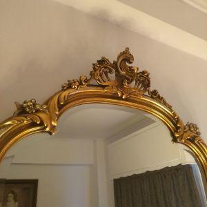 Καθρέφτης Μπαρόκ Ξυλόγλυπτος με Μπιζουτε Τζαμί Κ Επένδυση Φύλλο Χρυσού! Ύψος:1,55εκ Πλάτος:0,98εκ
