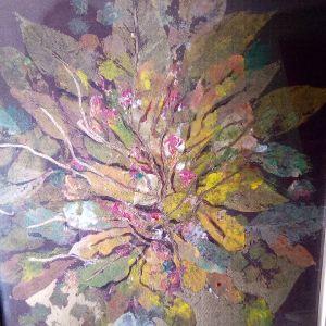"""Πίνακας """" φύλλα"""". ακουαρέλα"""