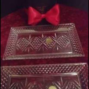 """Δισκάκια δυο τεμαχια Cristal D'arques """" Fontenay"""", κρύσταλλο Γαλλιας, αντίκες του 1970"""
