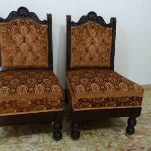 2 Χειροποιητες Πολυθρόνες Σαλονιου  Vintage με σκαλισματα απο μασιφ ξυλο και υφασμα βελουδο με σχεδια(90 η μία)